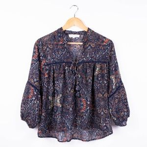 LoveStitch paisley floral boho tunic blouse top